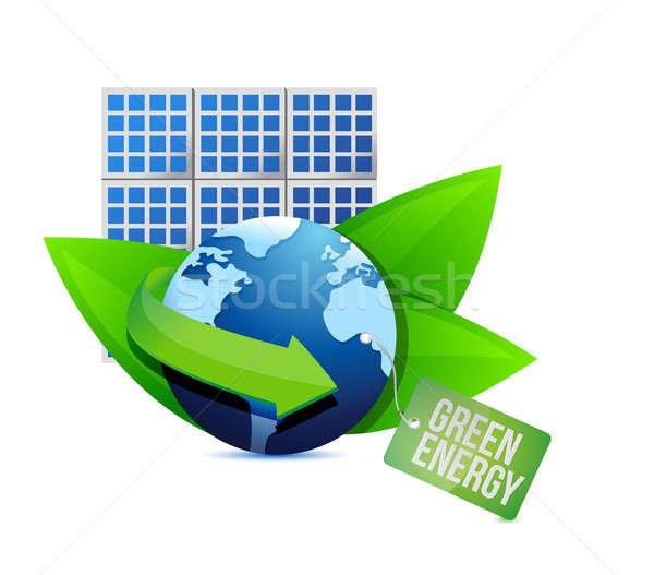 Zonnepaneel groene energie label illustratie ontwerp witte Stockfoto © alexmillos