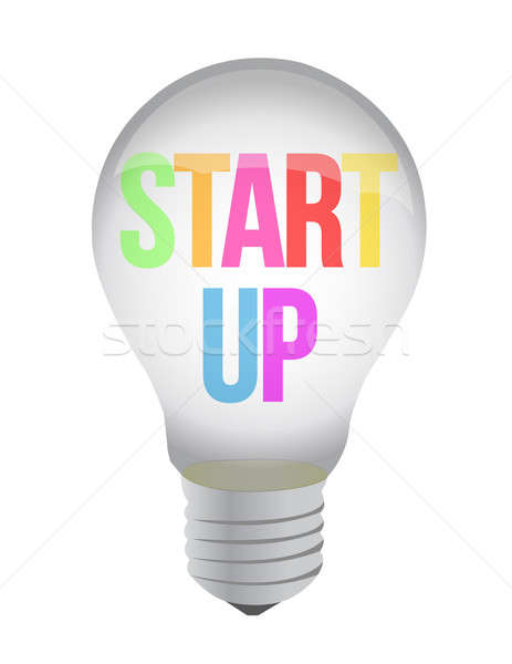 start up lightbulb illustration design over white background Stock photo © alexmillos