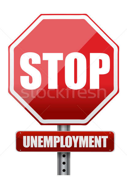 Traffic sign stop unemployment illustration design over white Stock photo © alexmillos