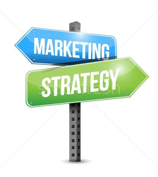 Foto stock: Estratégia · de · marketing · placa · sinalizadora · ilustração · projeto · tecnologia · sucesso