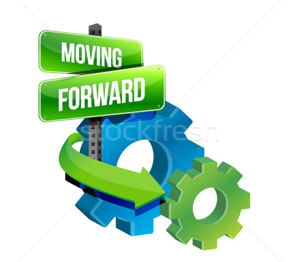 moving forward illustration design over a white background Stock photo © alexmillos