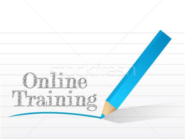 Stock fotó: Online · képzés · írott · darab · fehér · papír