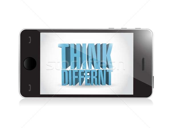 Telefoon denk verschillend 3d tekst illustratie ontwerp Stockfoto © alexmillos