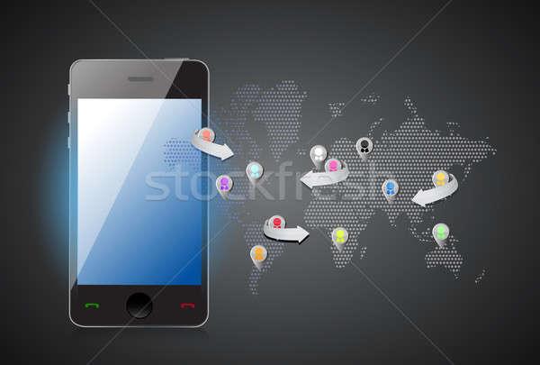 смартфон иллюстрация дизайна графических бизнеса Сток-фото © alexmillos