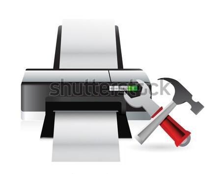 Stampante giù antipatia illustrazione design Foto d'archivio © alexmillos