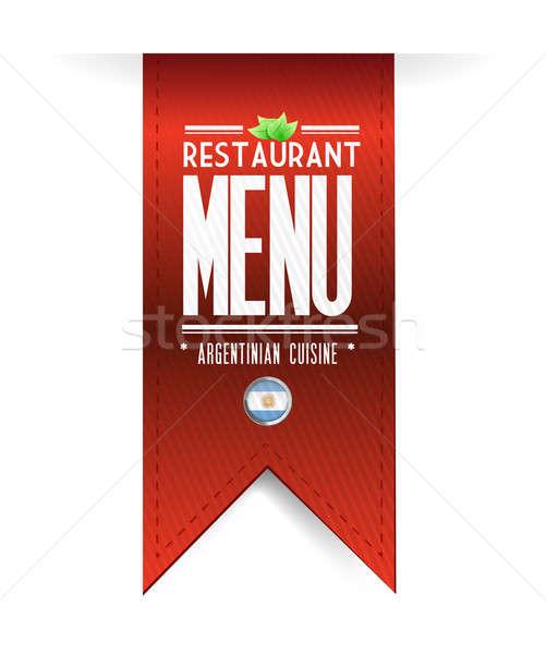 argentinian restaurant texture banner illustration over white Stock photo © alexmillos