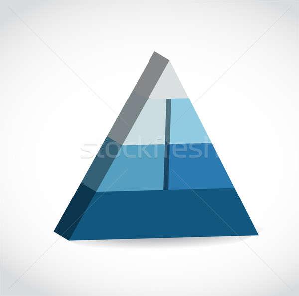 Blue glossy pyramid chart illustration Stock photo © alexmillos