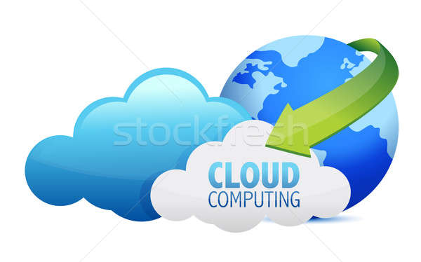 Cloud computing globe and arrows illustration design over a whit Stock photo © alexmillos
