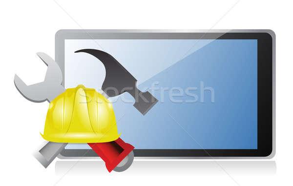 Tabletta építkezés felirat számítógép munka technológia Stock fotó © alexmillos