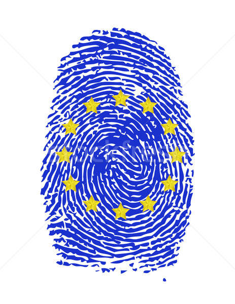 Huellas dactilares sello tinta euros información documento Foto stock © alexmillos