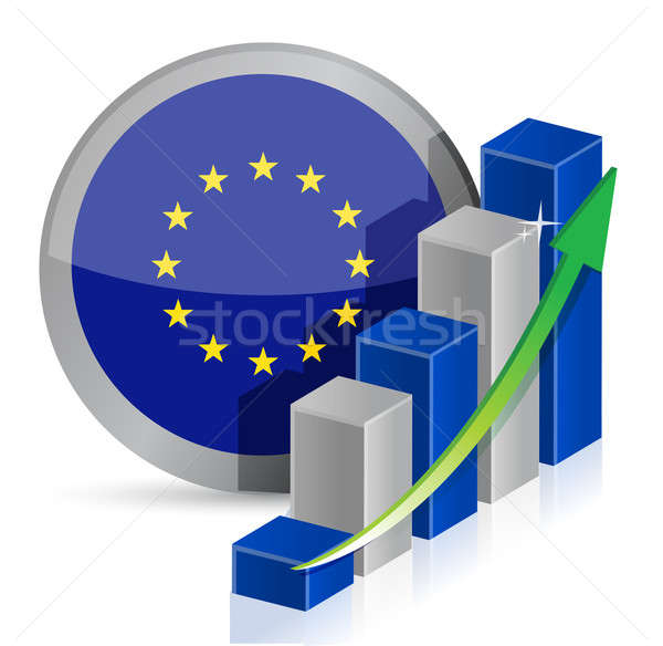 Europese vlag business illustratie ontwerp witte Stockfoto © alexmillos