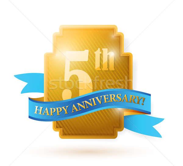 five years anniversary shield. illustration design over white Stock photo © alexmillos