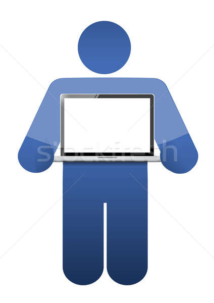 Stock photo: icon holding a laptop with a blank screen. illustration design
