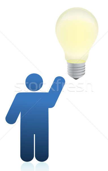 Icon person an lightbulb illustration design  Stock photo © alexmillos