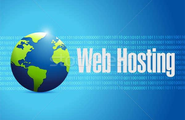 Háló hosting nemzetközi bináris illusztráció grafikai tervezés Stock fotó © alexmillos