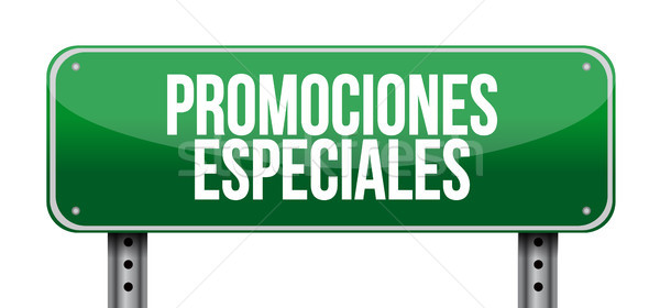 special promotions in Spanish road sign concept Stock photo © alexmillos