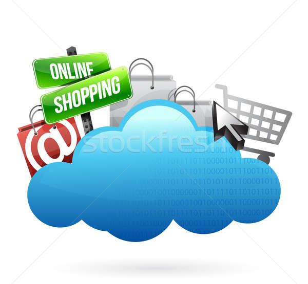 Zakupy online ilustracja projektu biały lata Zdjęcia stock © alexmillos