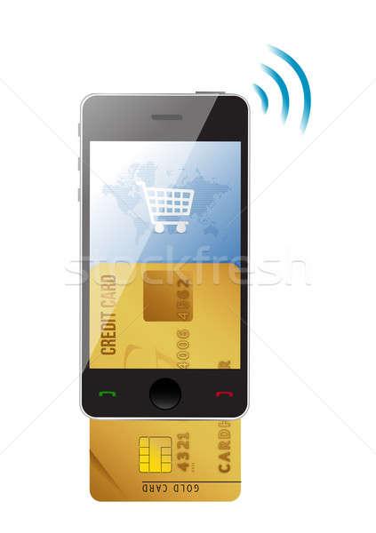 Compras cartão de crédito moderno móvel telefone móvel branco Foto stock © alexmillos