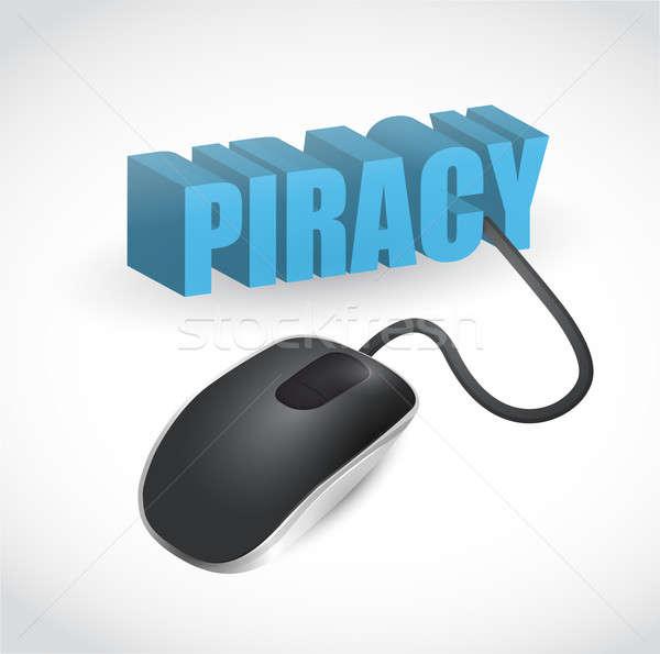 пиратство знак мыши иллюстрация дизайна белый Сток-фото © alexmillos
