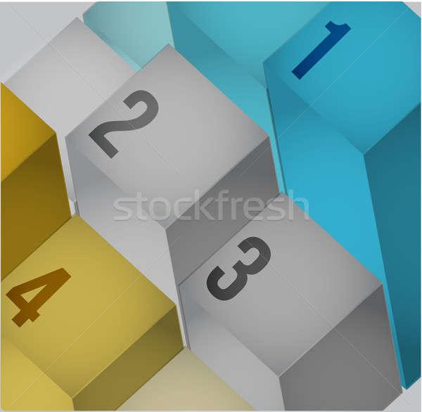 business 3d info graphics cubes Stock photo © alexmillos