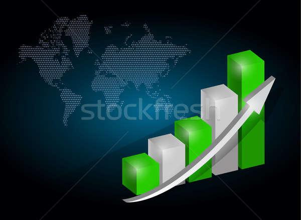 Foto stock: Gráfico · de · negócio · traçar · ilustração · projeto · escuro · negócio