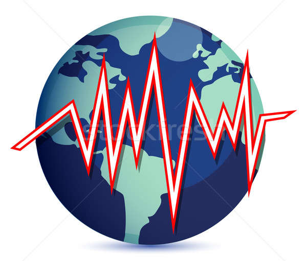 globe and earth quake lines illustration Stock photo © alexmillos