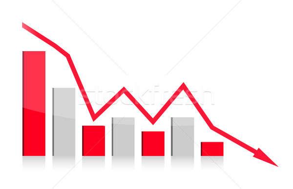 graph falling illustration design on white background Stock photo © alexmillos