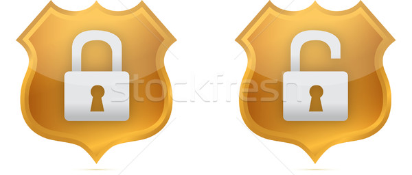 lock and unlock gold shields over white background Stock photo © alexmillos