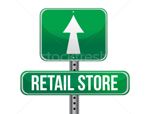 retail store road sign illustration design over a white backgrou Stock photo © alexmillos