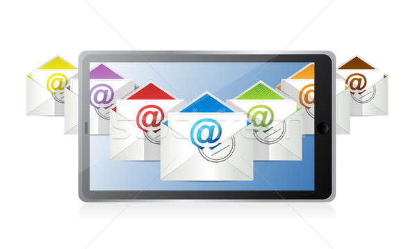 online inbox emails technology. illustration design over a white Stock photo © alexmillos