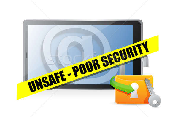 unsafe poor security technology concept illustration design over Stock photo © alexmillos