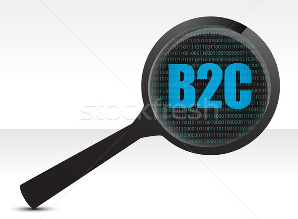 Magnifying optical glass with words b2c illustration design over Stock photo © alexmillos
