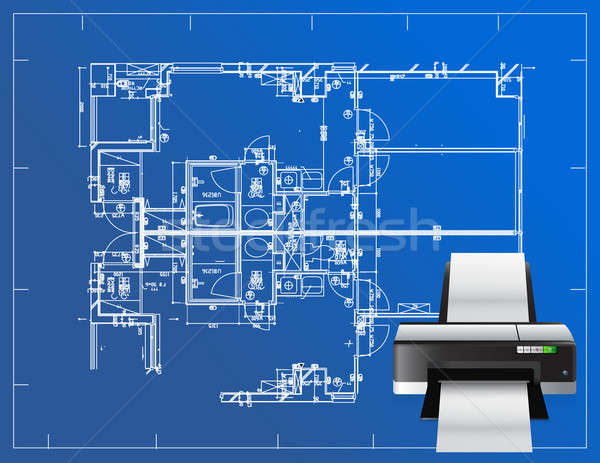 printer blueprint illustration business design concept graphic Stock photo © alexmillos