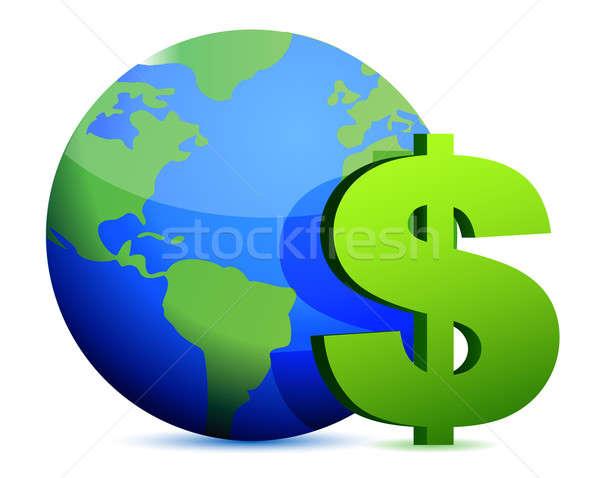 Dólar moeda em torno de globo dinheiro terra Foto stock © alexmillos