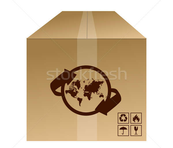 Világ doboz szállítmány iroda földgömb modell Stock fotó © alexmillos