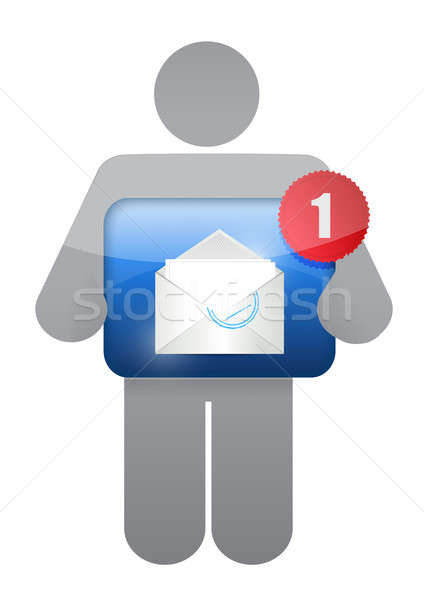 icon holding an email. illustration design over white Stock photo © alexmillos