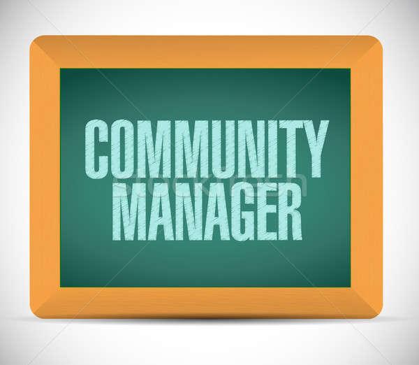 Comunità manager lavagna segno illustrazione design Foto d'archivio © alexmillos