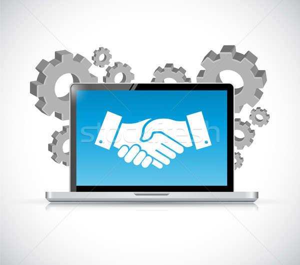 computer laptop agreement handshake concept Stock photo © alexmillos
