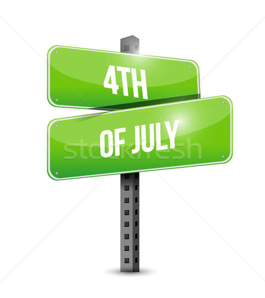 4th of July street sign concept illustration Stock photo © alexmillos