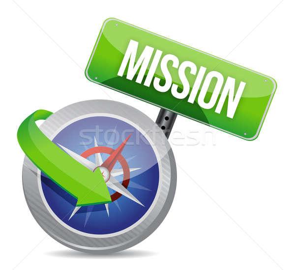 Misji kompas ilustracja projektu biały tle Zdjęcia stock © alexmillos