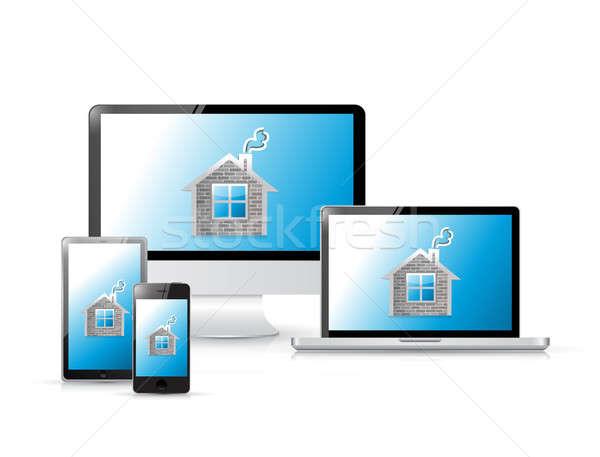 Otthon ikon szett elektronika illusztráció terv fehér Stock fotó © alexmillos