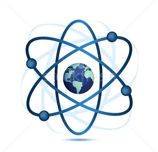 atom symbol with a globe in the middle Stock photo © alexmillos