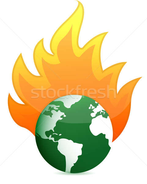 burning eco earth globe illustration design over white Stock photo © alexmillos