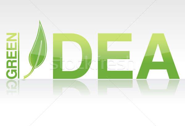 Foto stock: Prestados · verde · idea · palabra · aislado · blanco