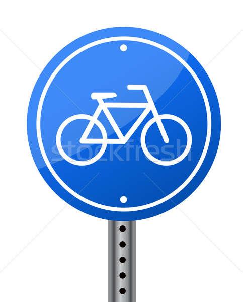 Kék bicikli út jelzőtábla fehér Stock fotó © alexmillos