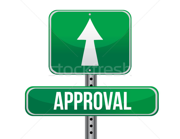 Approval road sign illustration design Stock photo © alexmillos