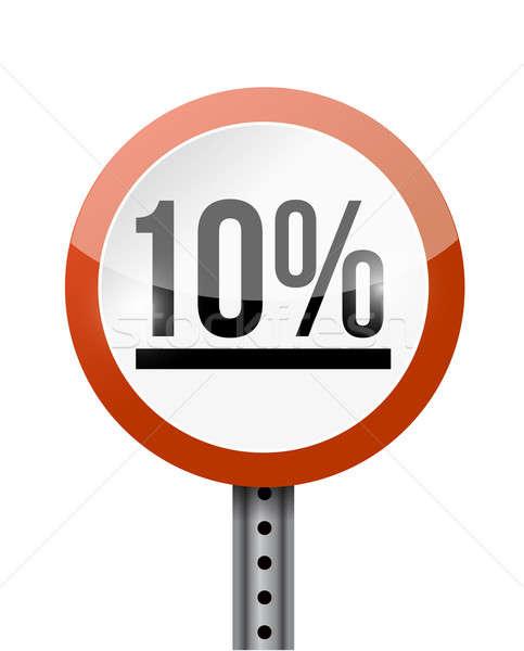 10 percentage road sign illustration design over a white backgro Stock photo © alexmillos