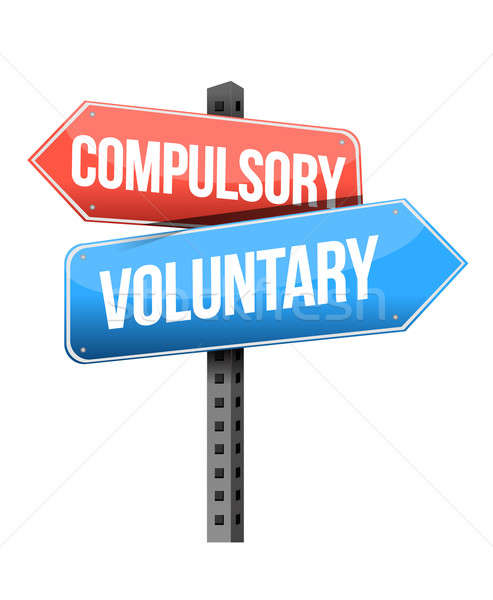 Stock photo: compulsory, voluntary road sign illustration design over a white