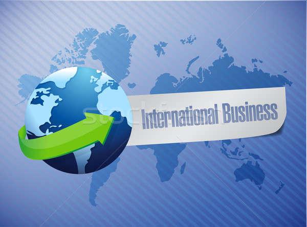 Business internazionale mappa del mondo illustrazione design blu business Foto d'archivio © alexmillos