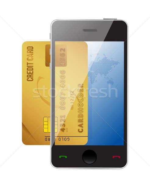Foto stock: Cartão · de · crédito · digital · pagamento · ilustração · projeto
